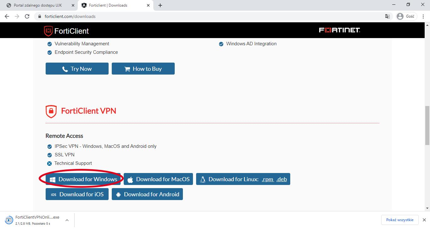 zrzut ekranu strony internetowej z niebieskim przyciskiem do pobrania programu Download for Windows