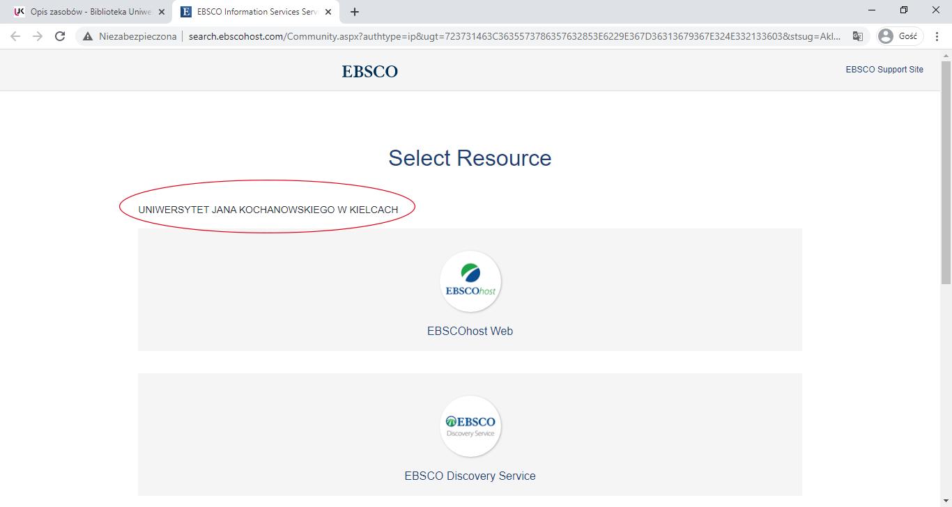 zrzut ekranu z wyszukiwarki EBSCO